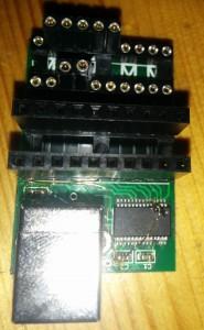 Auf 3,3V umgebautes FTDI-Board mit aufsteckten Steckverbindungen (damit die Kabel passen)